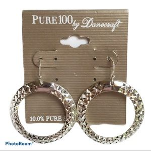 New 10.0% Pure Silver Textured Hoop Earrin…